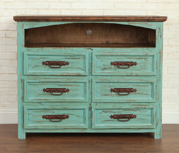 Turquoise 6 Drawer TV Stand