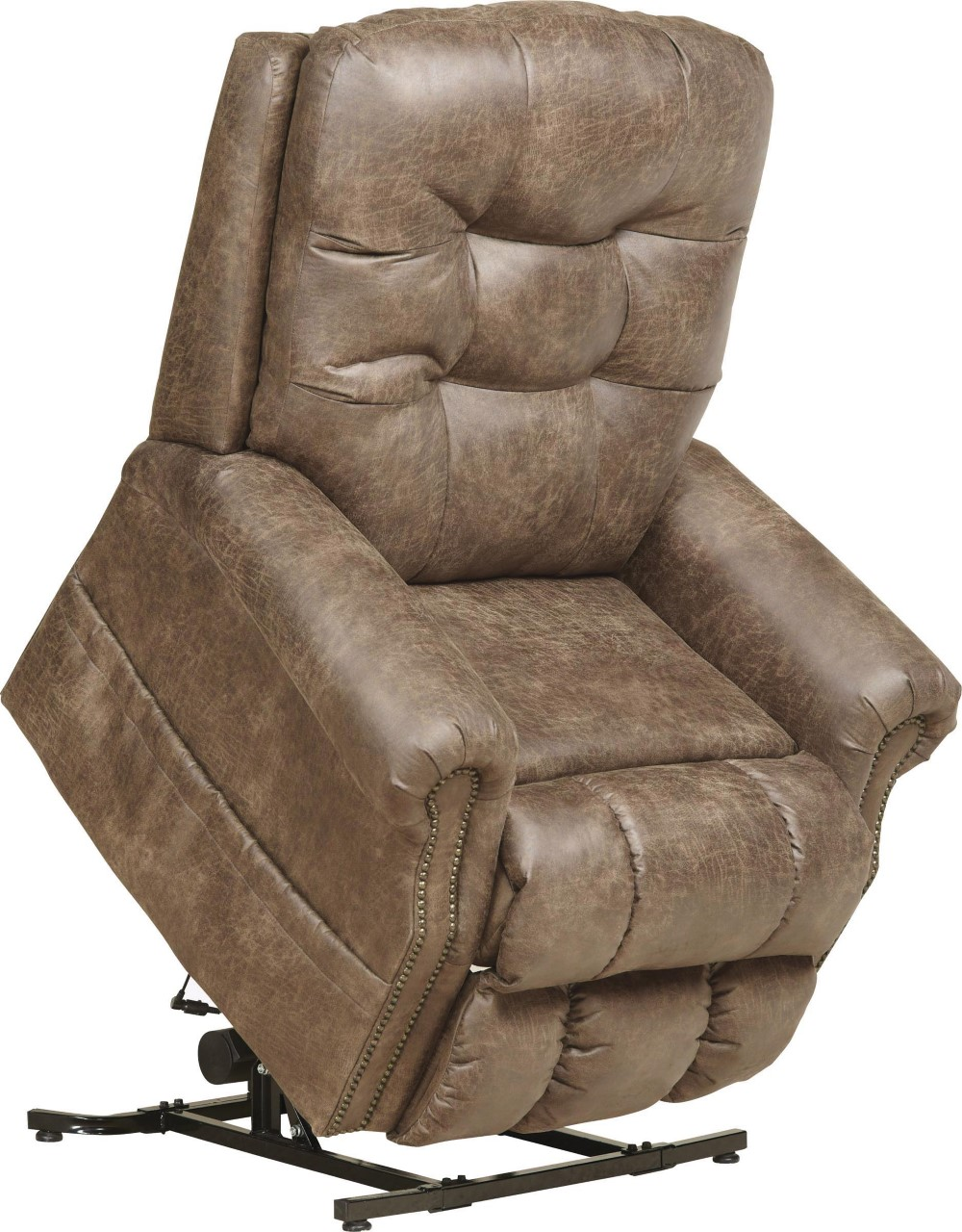 "Click photo for details • The Ramsey powerlift recliner by Catnapper® features 300LB capacity. Steel seat box. Comfort coil seating. Faux leather fabric • 37""W x 46""H x 42""D • $949.99"